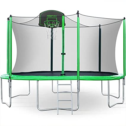 Merax 12FT Trampoline with Safety Enclosure Net, Basketball Hoop and Ladder - BV Certificated