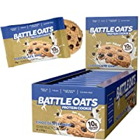 Battle Oats Vegan High Protein Cookies, 60g Pack of 12 Biscuit - Chocolate Chip