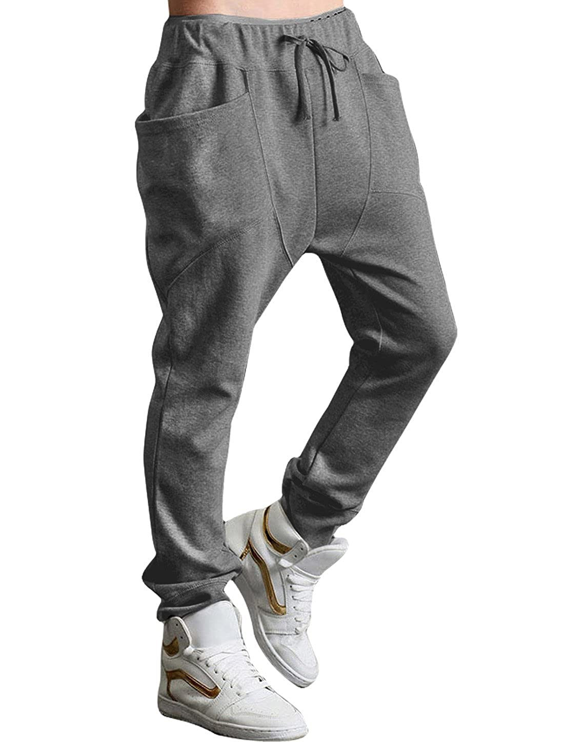 e1b78ac30e uxcell Men Drop Crotch Funnel Pockets Drawstring Sweatpants