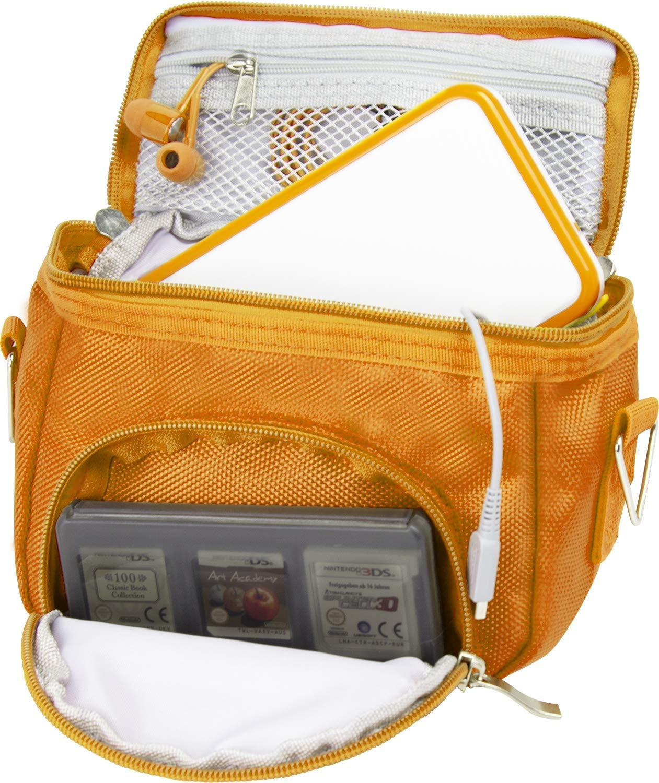 Orzly Travel Bag for Nintendo DS Consoles (New 2DS XL / 3DS / 3DS XL/New 3DS / New 3DS XL/Original DS/DS Lite/DSi/etc.) - Includes Belt Loop, Carry Handle, Shoulder Strap - Orange
