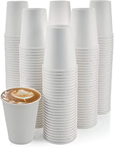 [200 Pack] 8 oz. Paper Cups, Paper Coffee Cups - Disposable White Hot Cups for Coffee, Tea or Hot Chocolate. Great for Home and Office