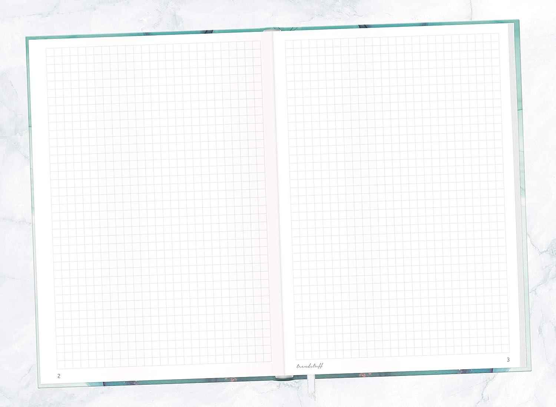 als Bullet Journal von Trendstuff by H/äfft 156 Seiten Notizheft nachhaltig /& klimaneutral Tagebuch Notizbuch A5+ kariert mit Gummiband Smaragd Gold