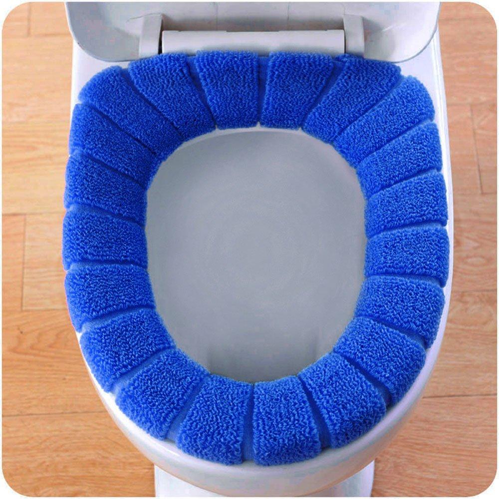sunnymi Pumpkin Universal WC Sitzkissen/Bequeme Samt Korallen Toilettensitzabdeckung Standard Kürbis Muster Kissen (Blau, 29cm)