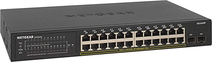 NETGEAR 26-Port Gigabit Ethernet Smart Managed Pro PoE Switch (GS324TP) - with 24 x PoE+ @ 190W, 2 x 1G SFP, Desktop/Rackmount, S350 series
