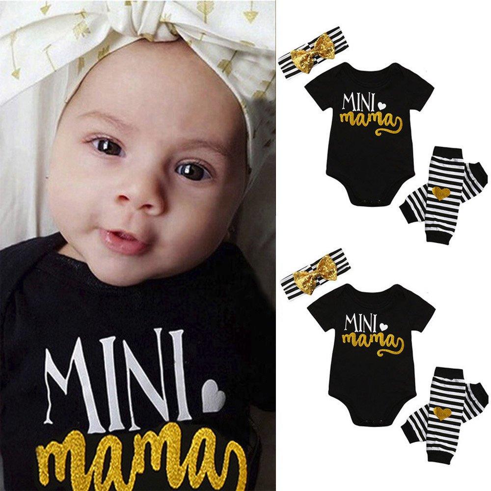 3pcs /セットベビーGrils Mini Mama文字プリント半袖ロンパースジャンプスーツトップスLeg Warmerヘアバンドセット服装服セット、スーツ0 – 24ヶ月の新生児幼児用女の子 B0793JXLLF 12-18 Months ブラック ブラック 12-18 Months