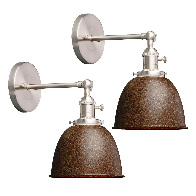 Phansthy Lot de 2 mini plafonniers modernes en métal avec abat-jour en métal Éclairage mural Style industriel Weiß