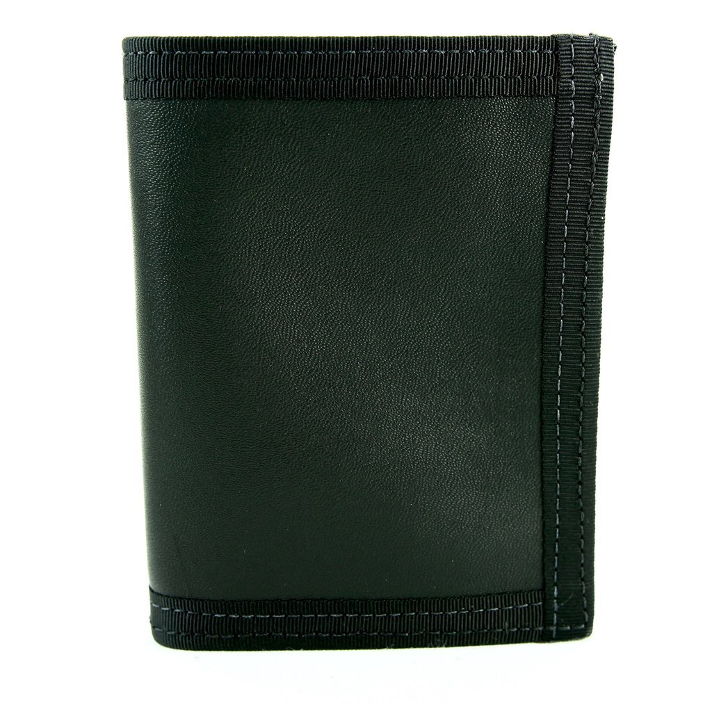 """Recycled Firefighter Wallet – """"Captain Bifold"""" – Fire Hose Or Combat Boot Leather Wallet – Recycled & Made in USA – Unique Wallets for Men (Black)"""