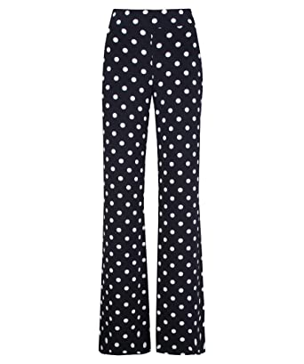 8d5b9547d6 Joseph Ribkoff Navy Blue Flare Leg Pants with White Polka Dots Style ...