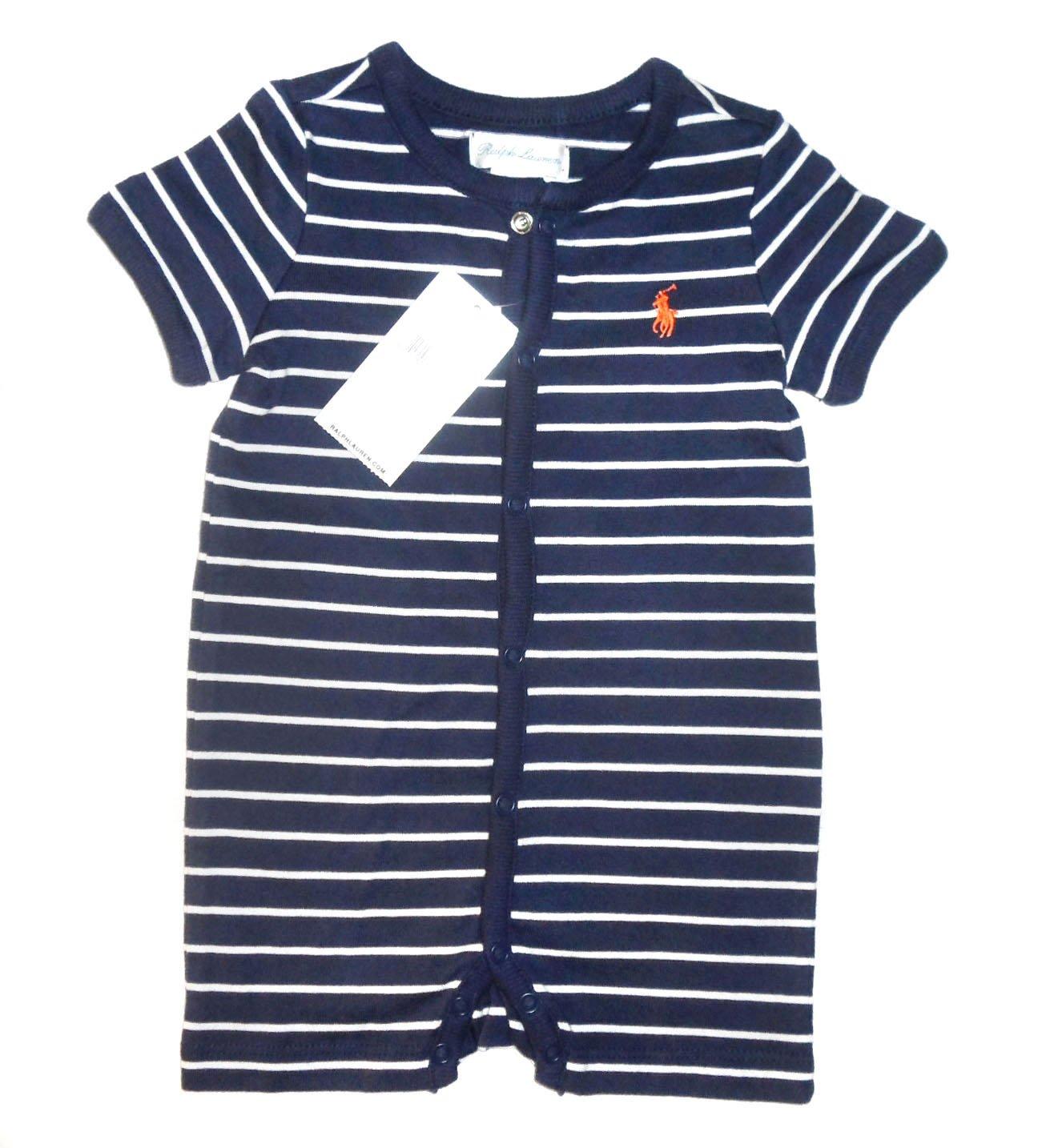 New Genuine Ralph Lauren bebé niños SHORTALL de rayas Babygrow Pelele - Observación azul azul azul Talla:3 meses: Amazon.es: Bebé