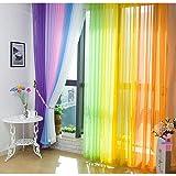 Hioffer(ハイオフア)窓 部屋 自然の風を通し 薄い カーテン 明るく ドレープ パネル ウォッシャブル ドアカーテン チュール 薄手 カーテン 装飾 ボイルカーテン 洗濯可能 UVカット 1枚 全12色 幅100cm丈200cm 黄色