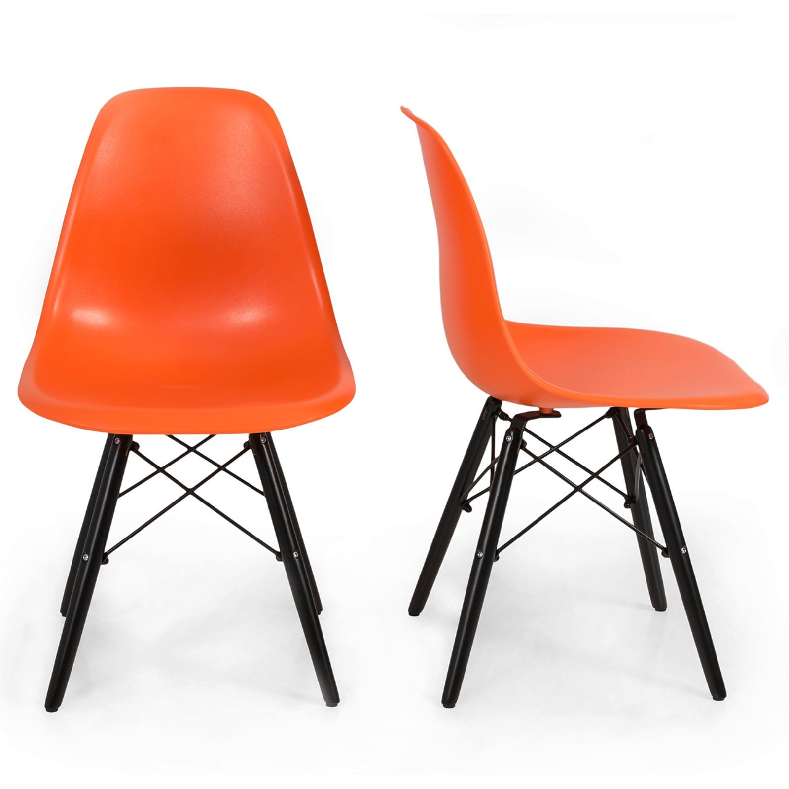 Set of 2 Mid Century Modern Style Eco-Friendly Materials Dining Side Chair Orange W/ Black Wood #263