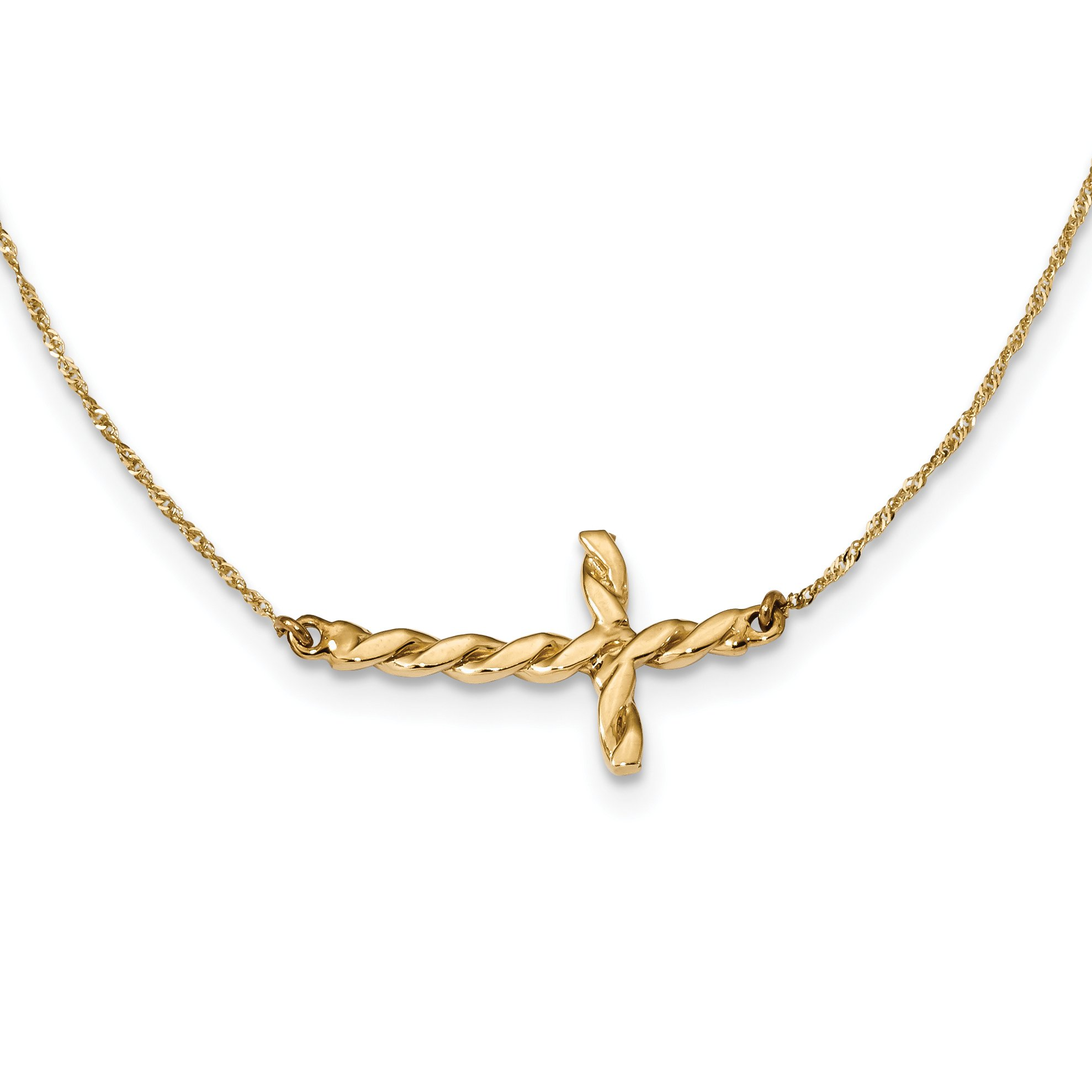 ICE CARATS 14k Yellow Gold Twisted Sideways Cross Religious 17 Inch Chain Necklace Fancy Crucifix Fine Jewelry Gift For Women Heart
