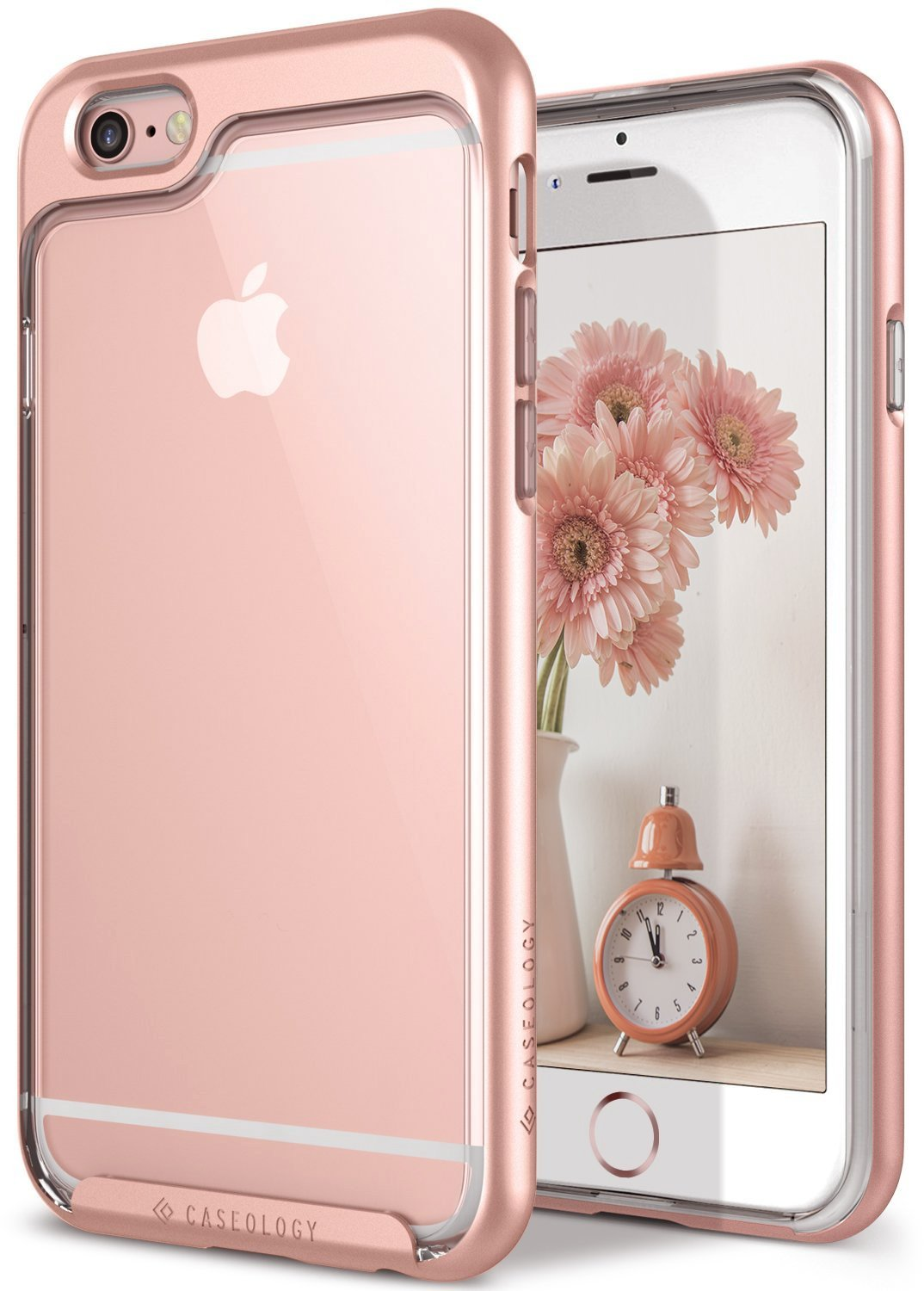 Caseology Skyfall for iPhone 6S Case (2015) / iPhone 6 Case (2014) - Clear Back & Slim Fit - Rose Gold