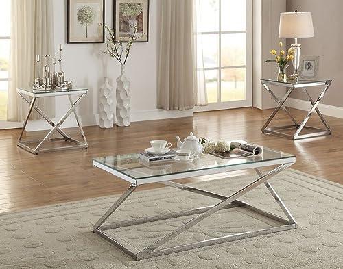 Poundex Velia 3-Pc Silver Tempered Glass Metal Base Table Set, Multi