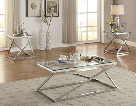 Poundex Velia 3-Pc Silver Tempered Glass Metal Base Table Set