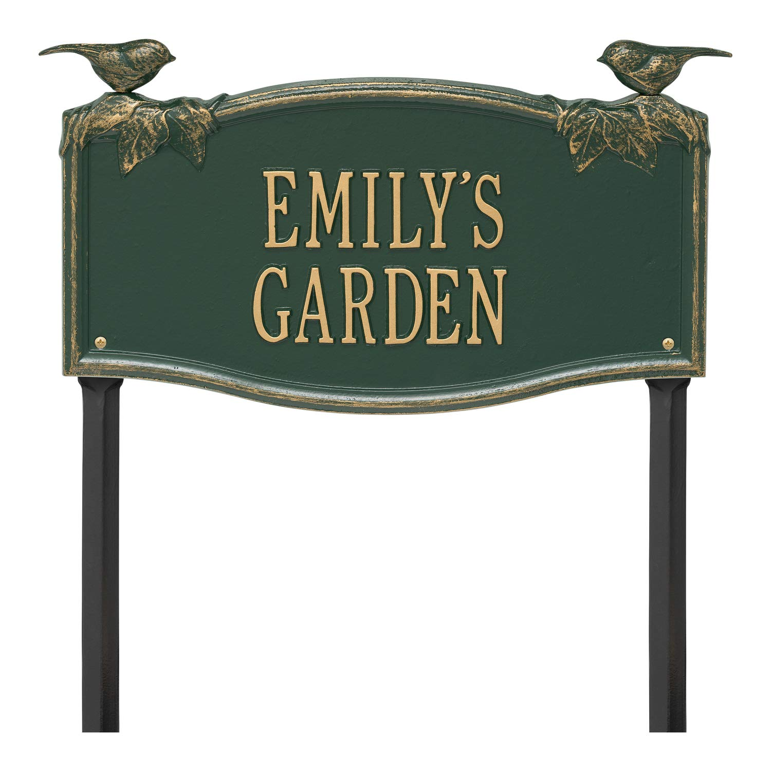 Whitehall 2 Line Personalized Chickadee and Vine Aluminum Garden Plaque 17'' W x 9'' H