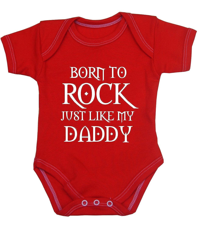 BabyPrem Baby Bodysuit Born to Rock Like Daddy Clothes Newborn - 12 Months