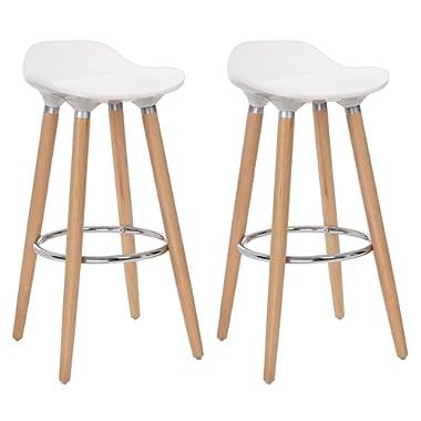 SONGMICS Set of 2 Stools, Kitchen Counter Bar Breakfast Barstool Beechwood Legs, Height 28.8 , White Natural Wood Colour ULJB20W