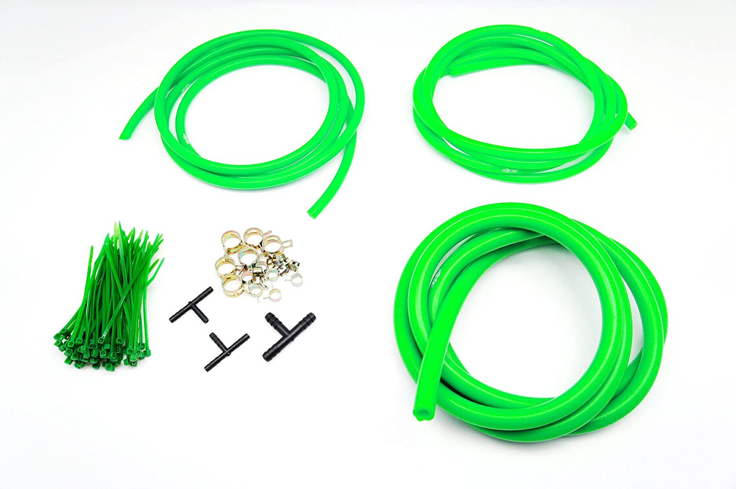 Autobahn88 Silicone Vacuum Hose Dress Up DIY Kit, Universal Fit All Nissan,Subaru,MMC, Toyota,Honda,Mazda, Mustang,Chevrolet,Ford, Suzuki,Citroen,Audi,BMW, Benz,Mini,Volkswagen,Fiat, etc (Green)
