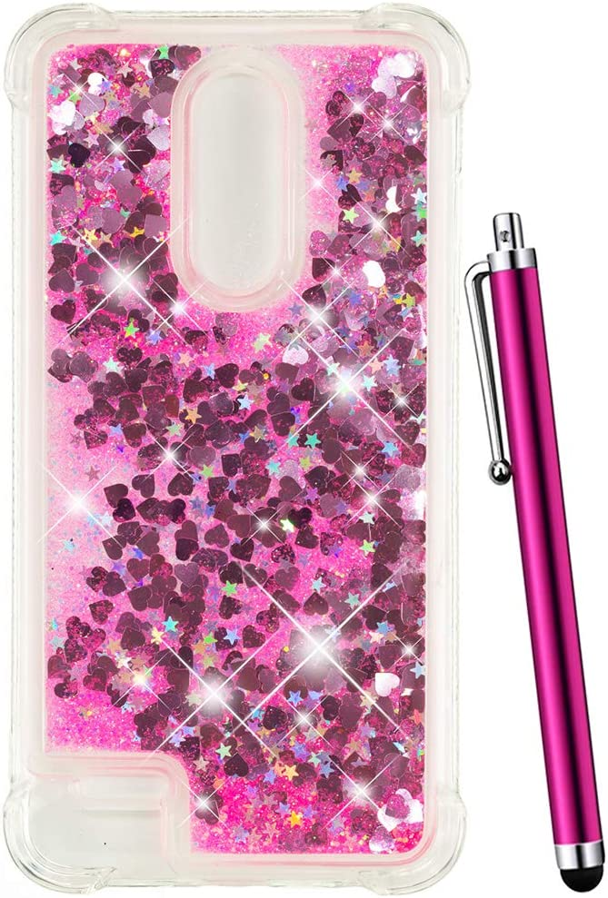 CAIYUNL for LG K30 Case/LG Phoenix Plus/LG Premier Pro LTE/LG Harmony 2 /LG K10 2018 Glitter Quicksand Liquid Floating Sparkle Bling Clear TPU Protective Luxury Phone Case Shockproof (Hot Pink)