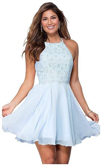 d66a68271e158 Women's Halter Open Back Beaded Chiffon Formal Prom Dress Short Lace  Homecoming Dresses