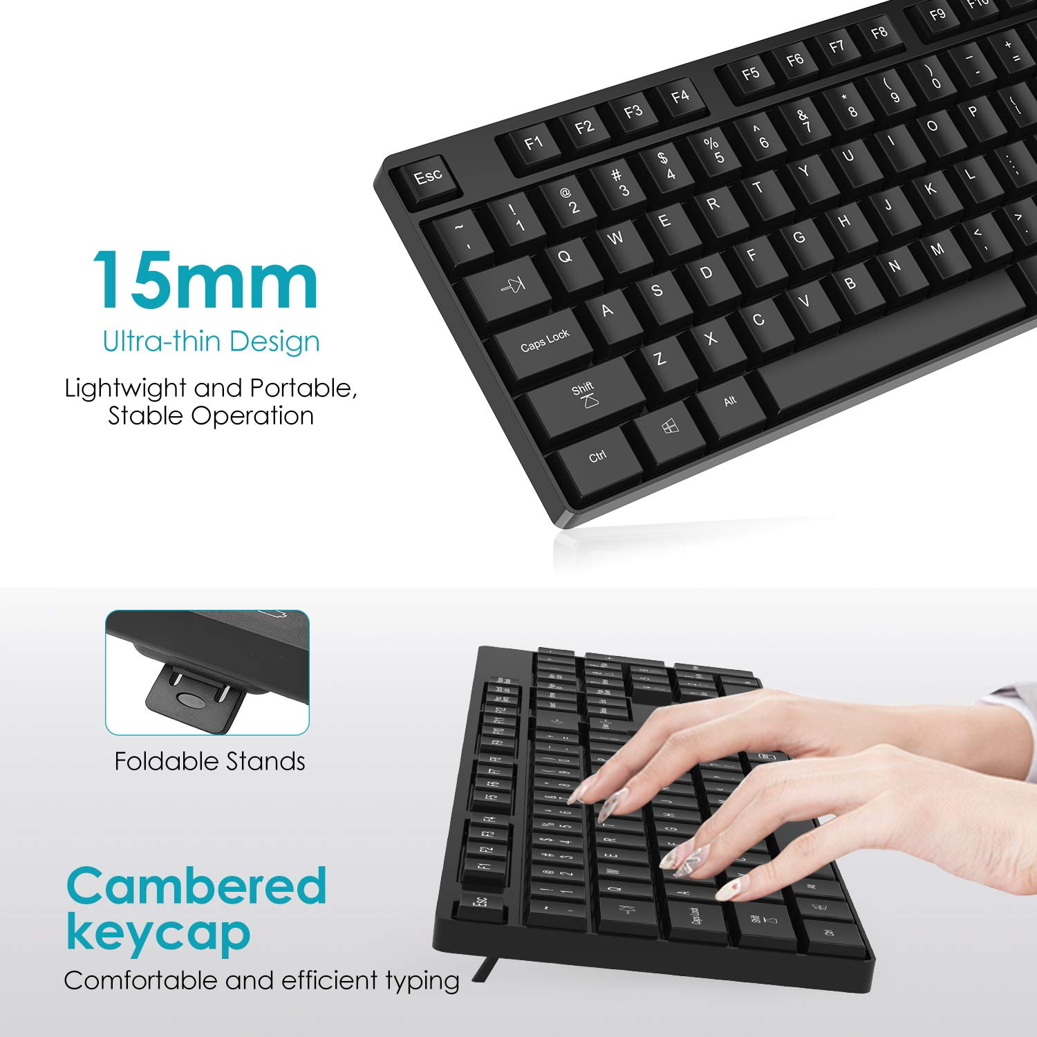 Philips Wireless Keyboard and Mouse Combo, Ultra-thin Ergonomic Keyboard and Mute Mouse, 2.4GHz 32ft Wireless Connection with USB Receiver for PC Desktop Computer Laptop Mac Tablet (Black)