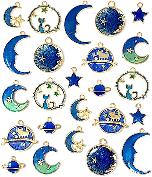 8Pcs Enamel Cat Moon Star Earth Planet Charms For Jewelry Necklace//Bracelet DIY