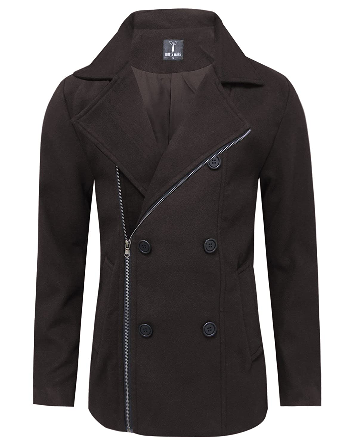 Tom's Ware Mens Stylish Zip Up Wool Double Breasted Pea Coat TWCC17