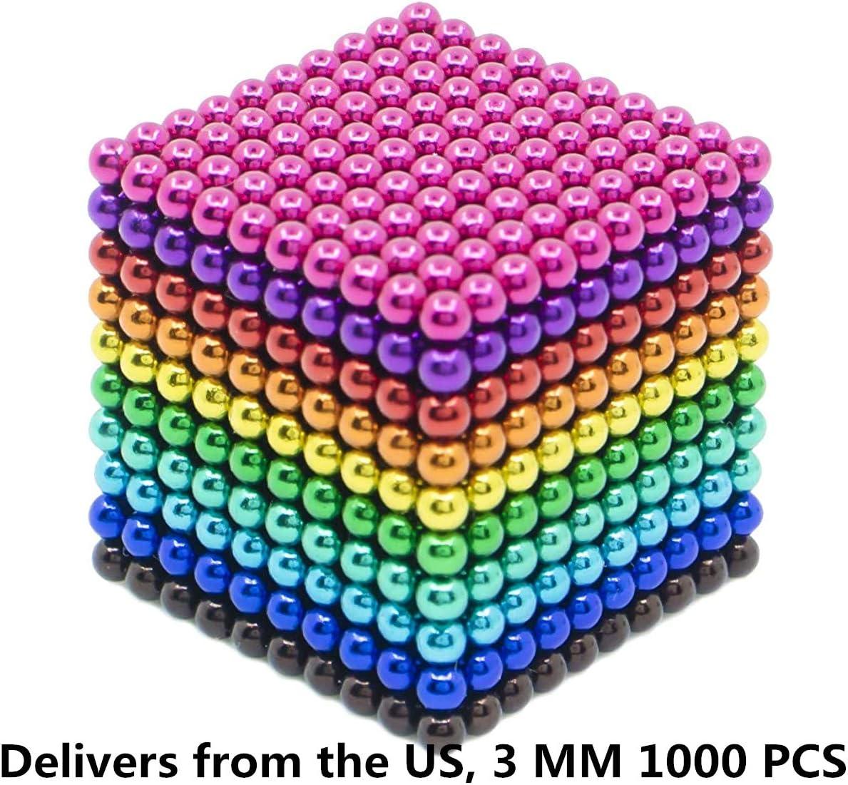 Magnetic Balls 3 MM Beads 1000 Pieces Rainbow Sculpture Cube Fidget Coolest Gadget Sculpture Building Blocks Interesting Desk Toy Multicolored