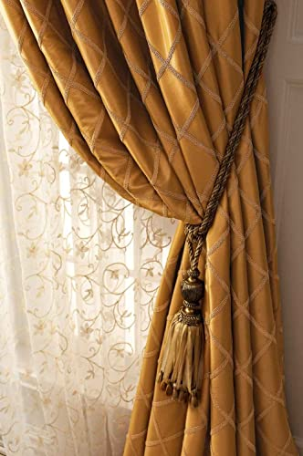 BU Gold Paramount Faux Silk Gimp Trim Lined Rod Pocketed Window Treatment Curtain Panel Drape 52″ W X 120″ L