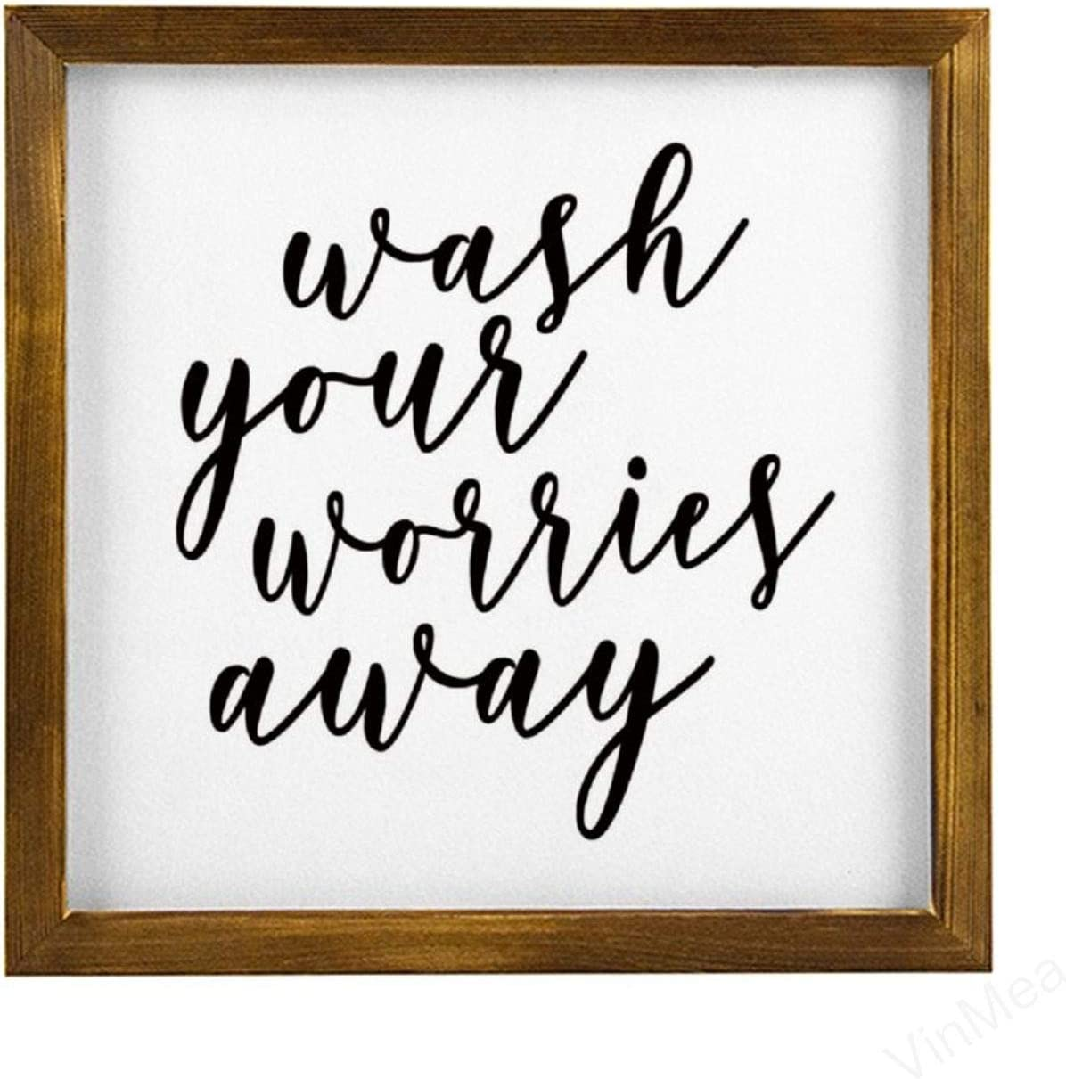 VinMea Home Decor Wood Sign Wash Your Worries Away Framed Wood Sign,Rustic Wall Art Sign 12