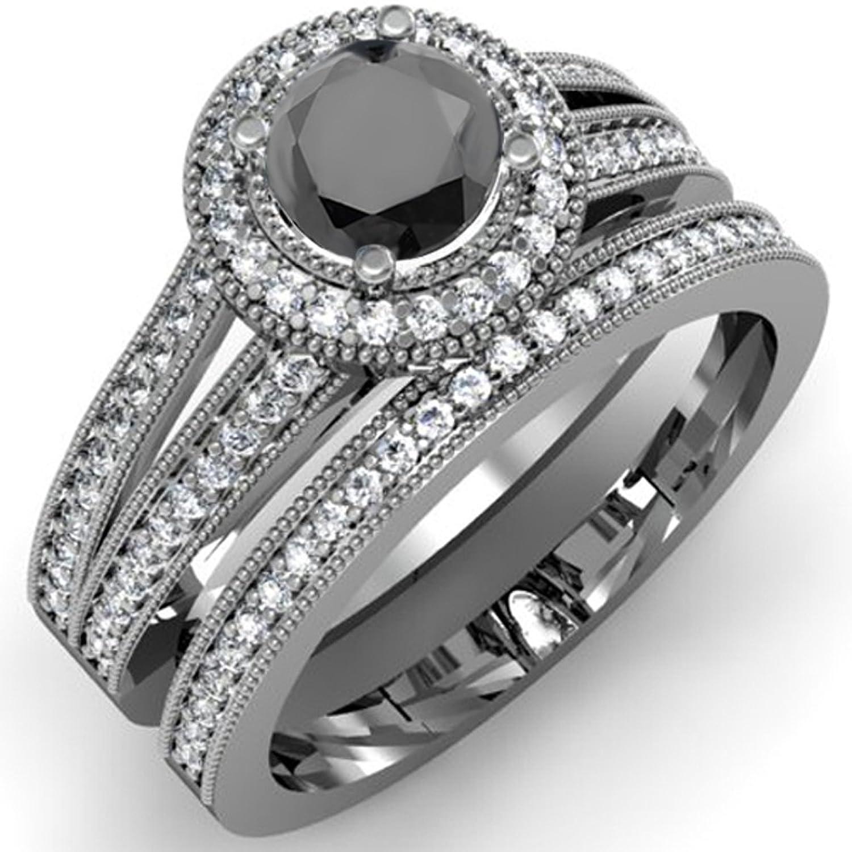 Amazon 1 25 Carat ctw 14K White Gold White & Black Diamond
