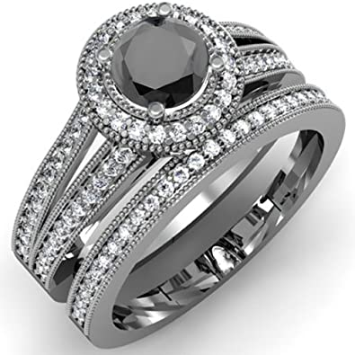 Amazoncom 125 Carat ctw Black Rhodium Plated 10K White Gold