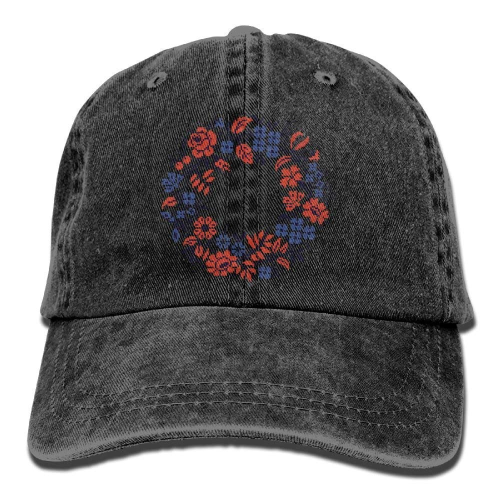 JTRVW Flower Circle Denim Hat Adjustable Female Stretch Baseball Hat