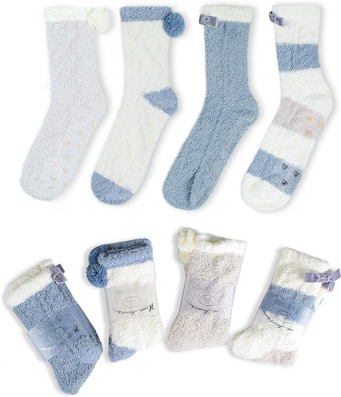 2 oder 4 Paar Damen Mädchen Kuschelsocken Bettsocken Winter Socken Flauschsocken