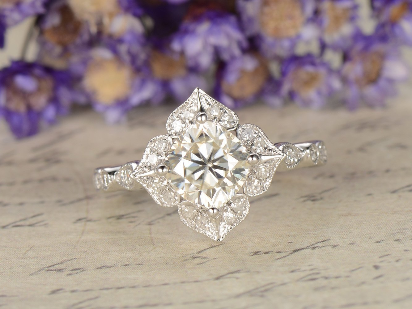 Moissanite Ring White Gold 6mm Cushion Cut VS Moissanite Engagement Ring Diamond Wedding Anniversary 14k Retro Floral Vintage Antique Art Deco Wedding Band