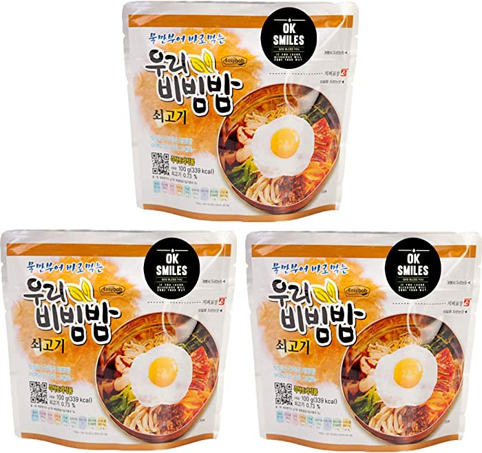 woori Korean Military MRE Bibimbap Spicy Beef Rice Food 100g/1pack, MRE Meals Ready to Eat Pack of Bibimbap Korean Mixed Rice Bowl