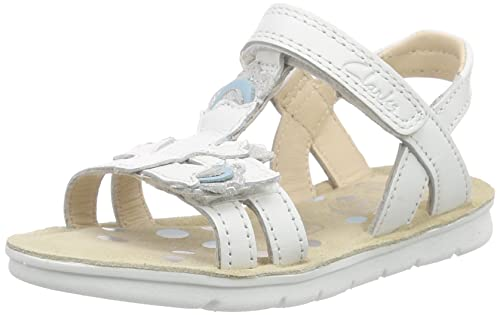 59448a9745837 Clarks Girls' MimoGracie Inf Ankle Strap Sandals White Size: 8.5 Child UK
