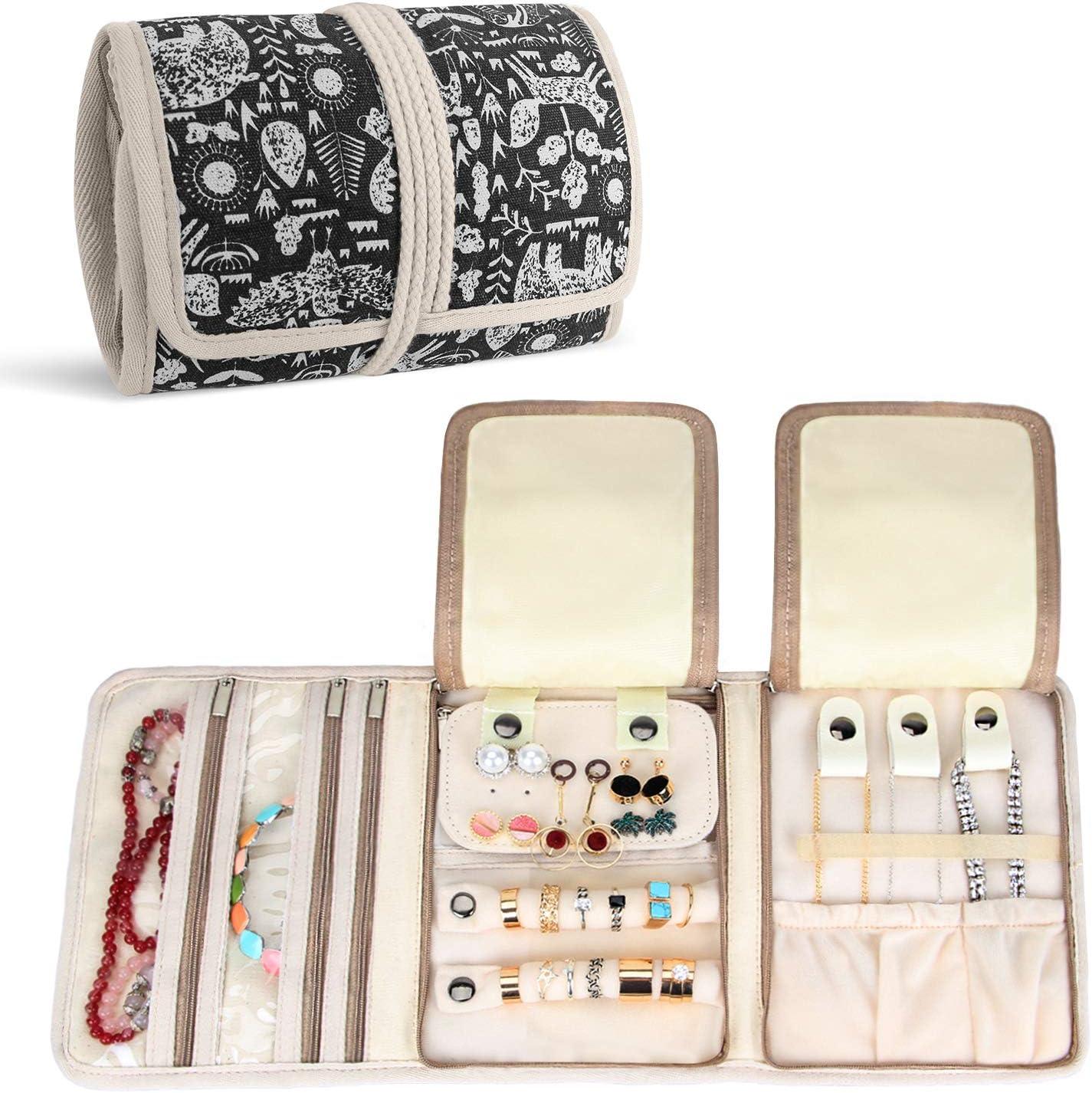 Teamoy Roll para Joyería Organizador de joyas Estuche de viaje para collares, pendientes, pulseras, broches, 3 carpetas, varios departamentos, mundo de animales: Amazon.es: Hogar