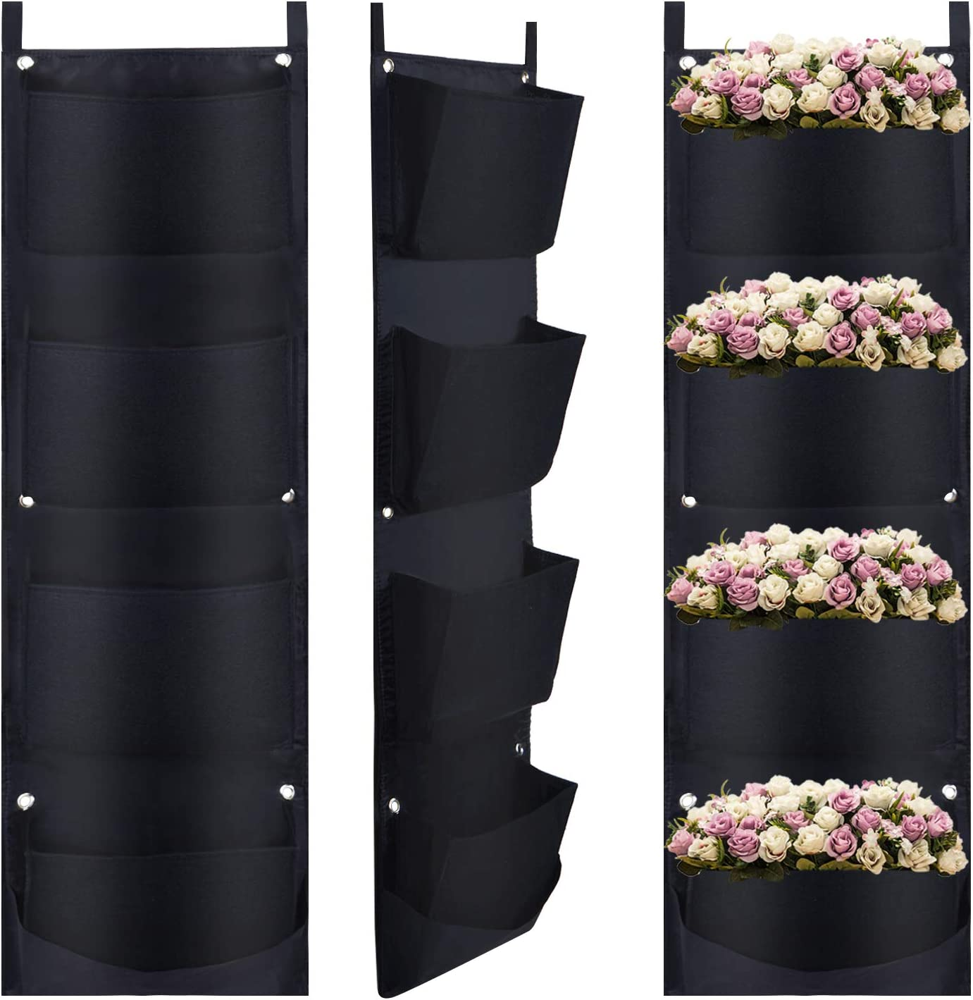 Martine Mall 2 Packs Vertical Hanging Garden Planter with 4 Pockets New Layout Waterproof Hanging Garden Wall Planter Solution for Herbs or Flowers Outdoor and Patio Areas