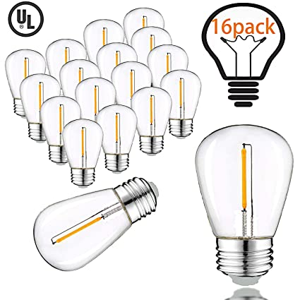 Vintage LED Edison Bulbs for Outdoor String Lights, 1W Equivalent 11W,  100lm, Warm White 2200K, E26 Medium Base,S14 Antique LED Light Bulbs  Dimmable