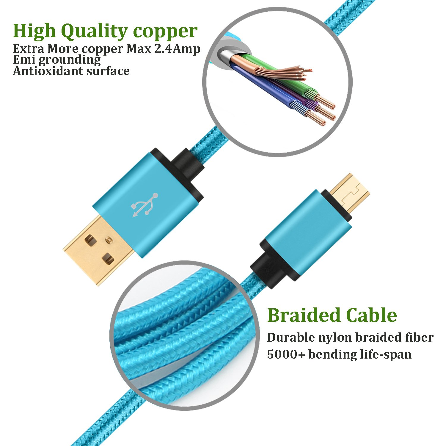 Amazon.com: HI-CABLE Micro USB Cable 10Ft Long Braided Charger Cord ...
