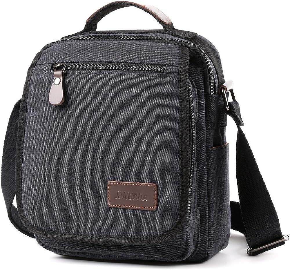 Men Messenger Bags Travel Shoulder Bags Canvas Briefcase Khaki