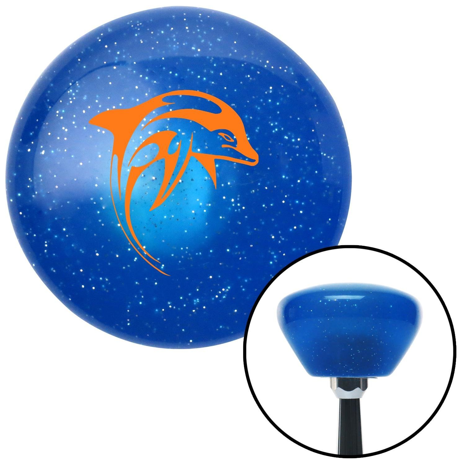 American Shifter 189383 Blue Retro Metal Flake Shift Knob with M16 x 1.5 Insert Orange Artistic Dolphin