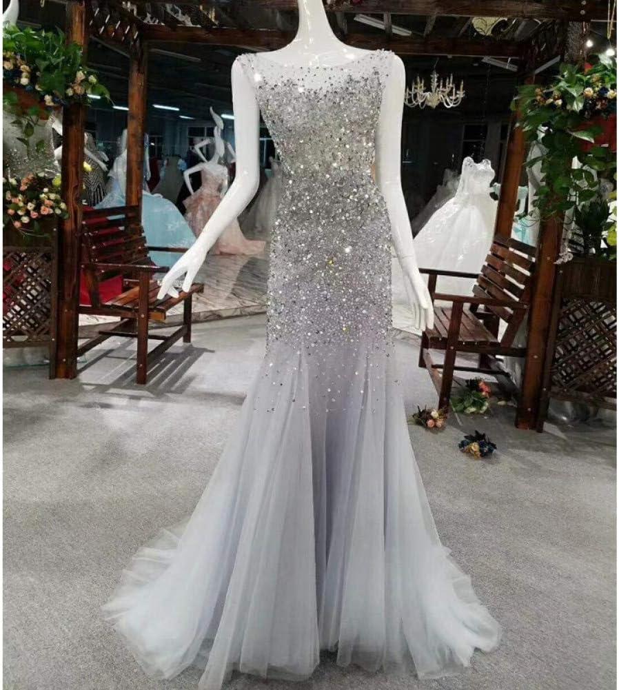 FEJIWO Grau Sliver Luxus Perlen Trompete Abendkleider Handmade