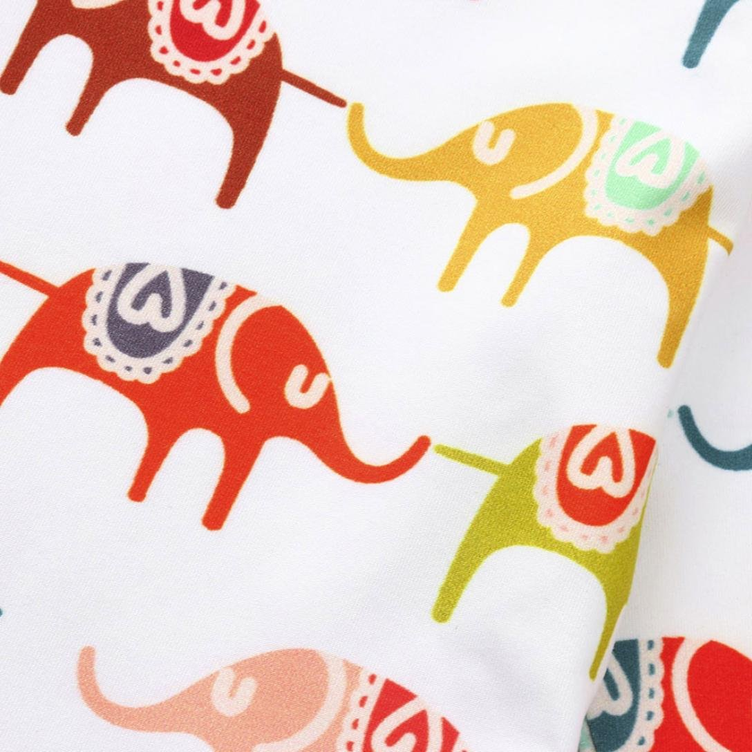 WARMSHOP 2 PC Newborn Baby Playwear Set Cartoon Elephant Print Long Sleeve Cotton Tops T-Short+Pants Casual Outfit Set