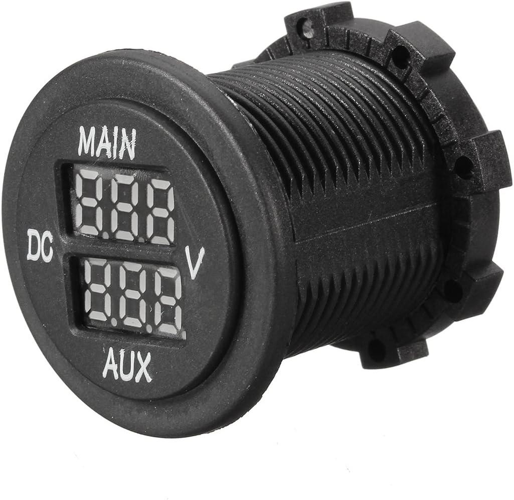 Alamor 12V 24V Aux Principal Led Digital Volt/ímetro Dual Medidor De Voltaje Monitor De La Bater/ía Panel-Azul