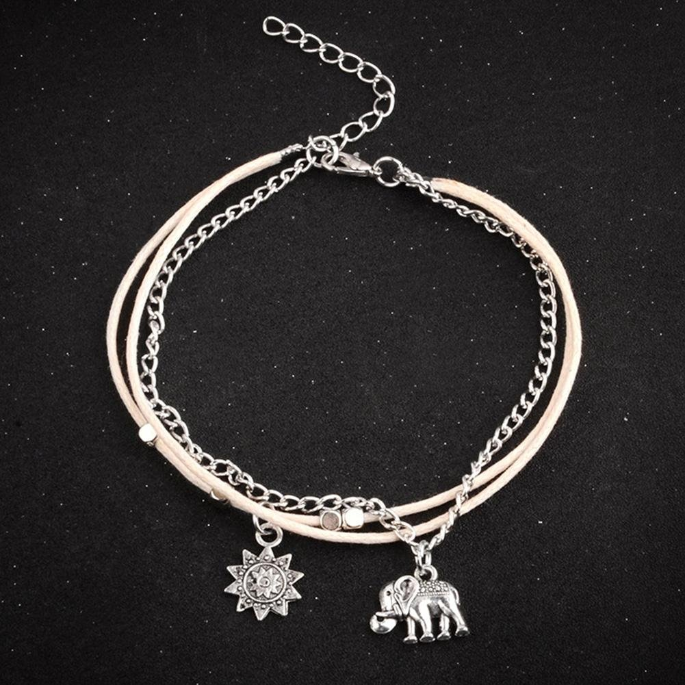 JaneDream Women Bohemian Elephant Sun Square Beads Pendant Bracelet Anklet Multi Layers Ankle Chain