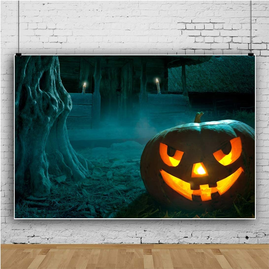 Laeacco Haunted House Backdrop 7x5ft Grimace Pumpkin Lamp Vinyl Photography Background Old Shabby Wooden House Halloween Night Jack-Lantern Holiday Decor Scary Party Cosplay Photo Prop Video