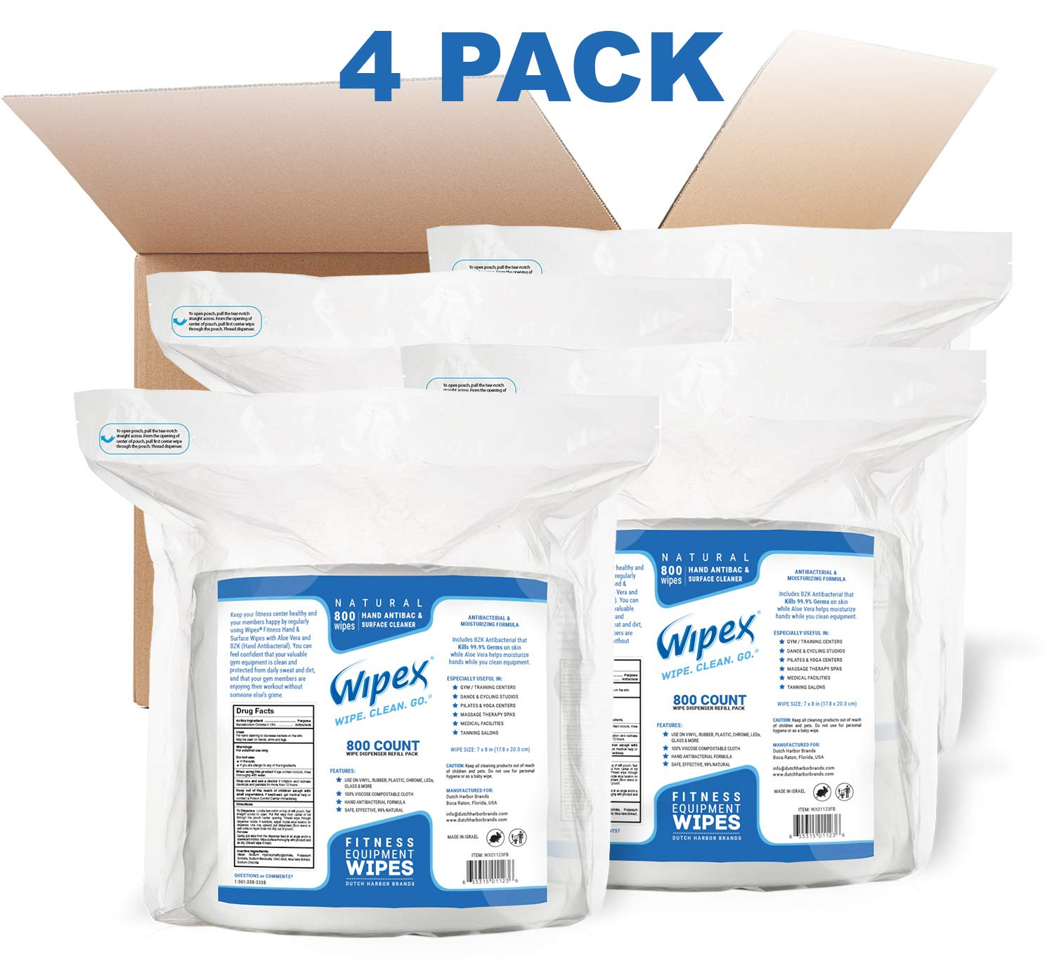 Wipex Gym Wipes 800 Refill Pack for Hand & Surfaces - 99% Natural (Incl. BZK antibacterial), 4 Pack